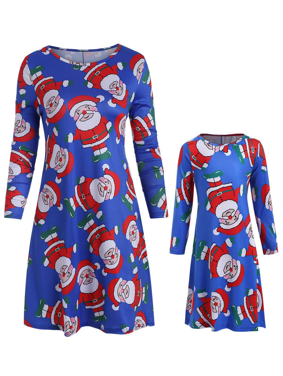Christmas Mother Daughter Long Sleeve Tunic Dress - BLUE MOM L