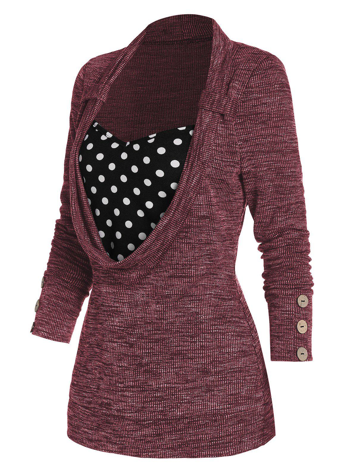Polka Dot Print Button Embellished Faux Twinset Sweater - RED WINE L