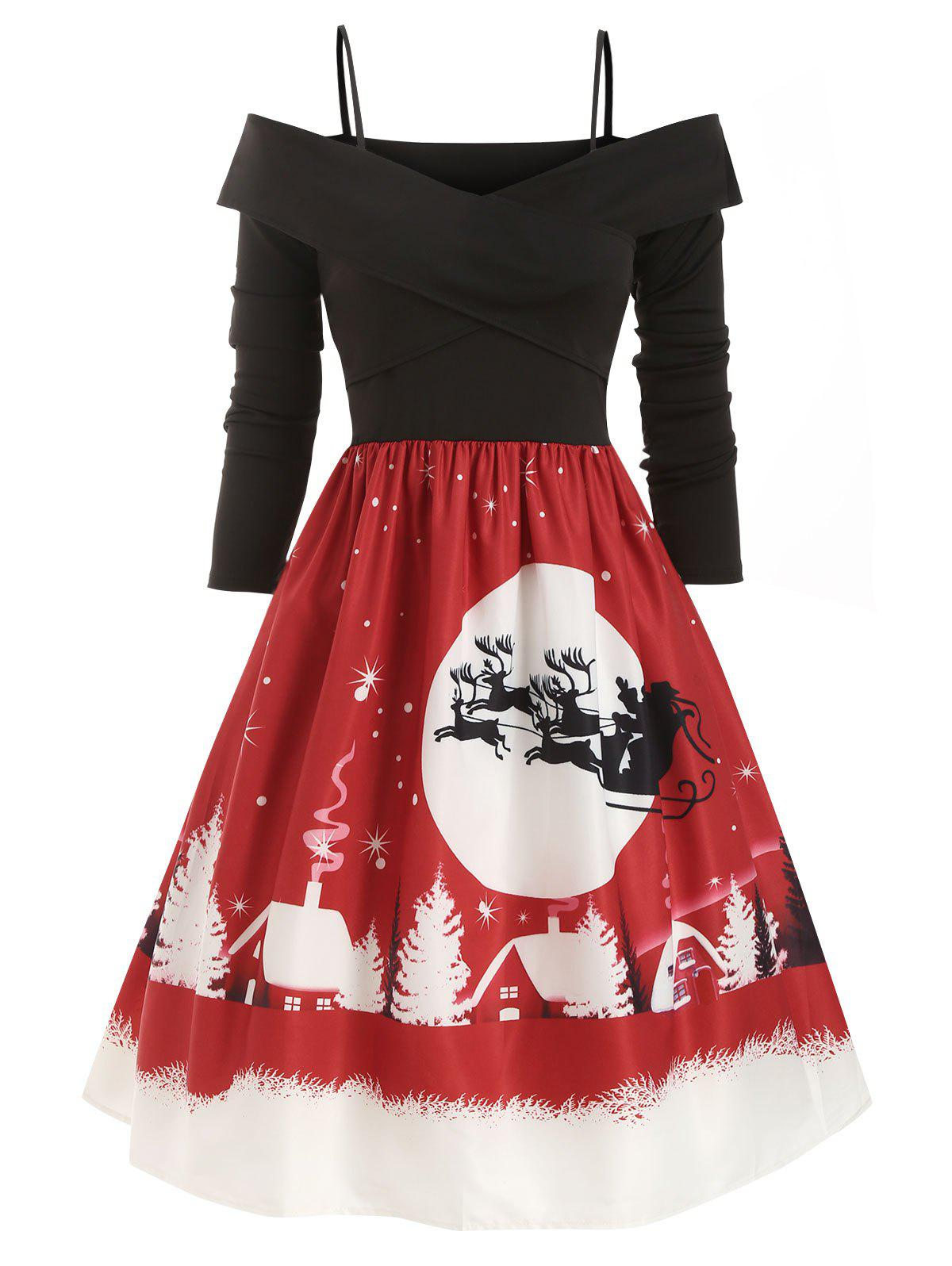 Cold Shoulder Criss Cross Christmas Elk Snowman Snowflake Dress - RED S