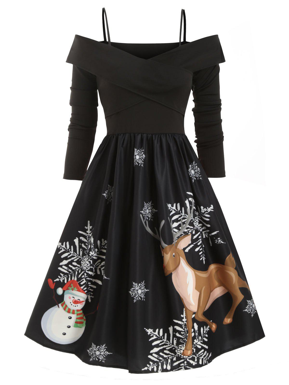 Cold Shoulder Criss Cross Christmas Elk Snowman Snowflake Dress - BLACK M