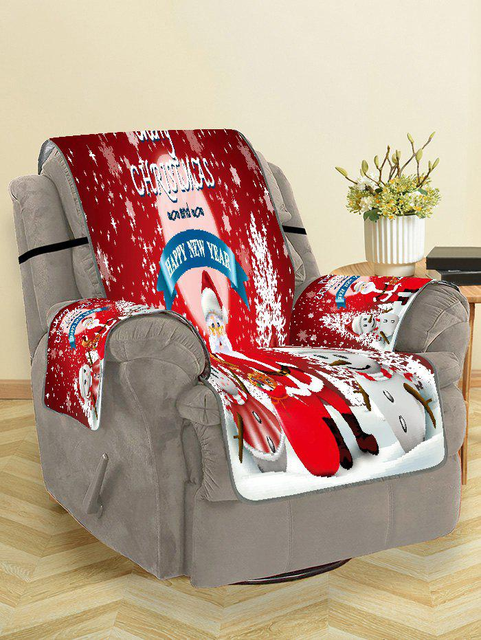 Merry Christmas Santa Claus Snowman Couch Cover - LAVA RED SINGLE SEAT