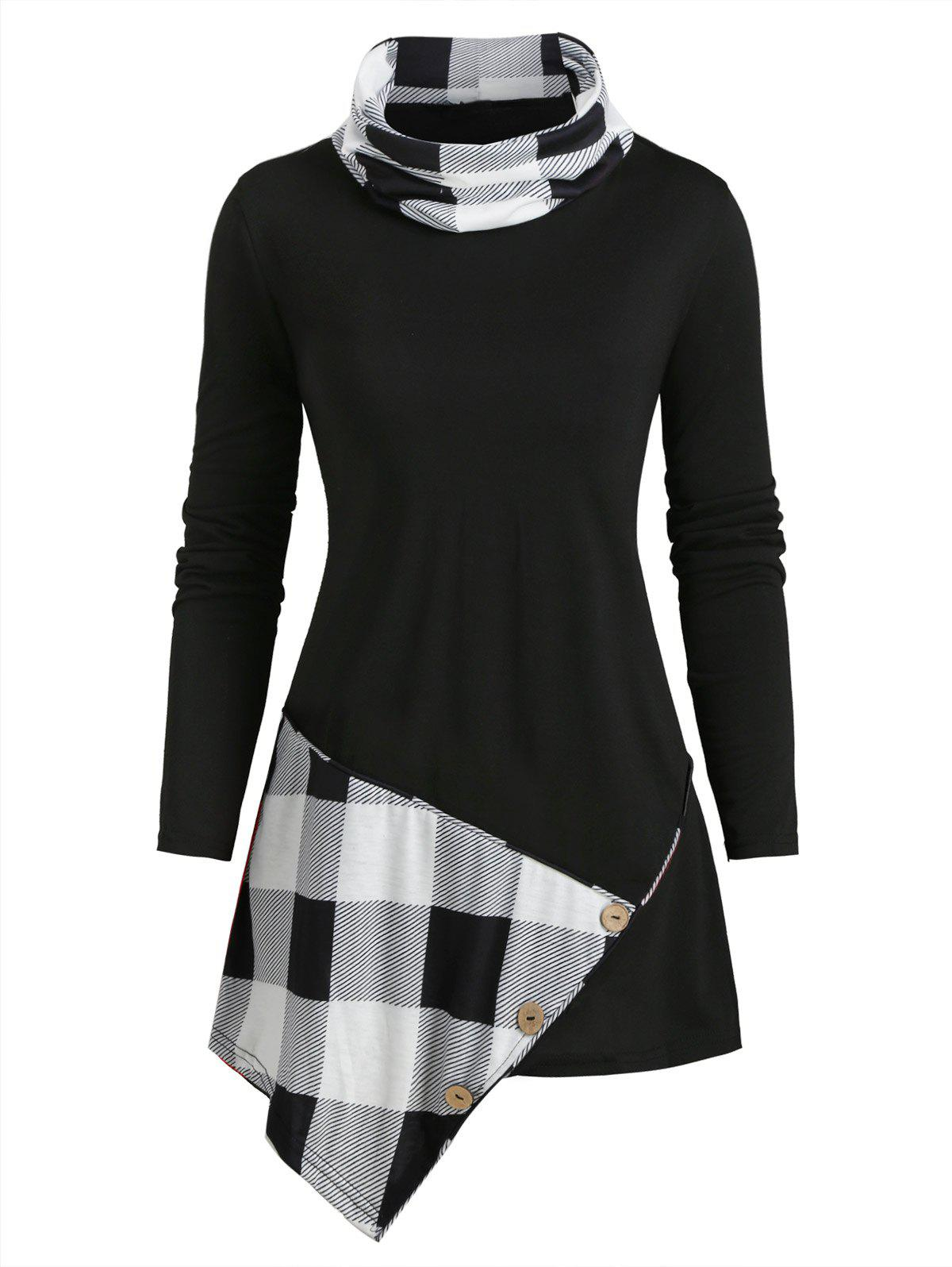 Cowl Neck Plaid Panel Buttoned Asymmetrical Top - BLACK M