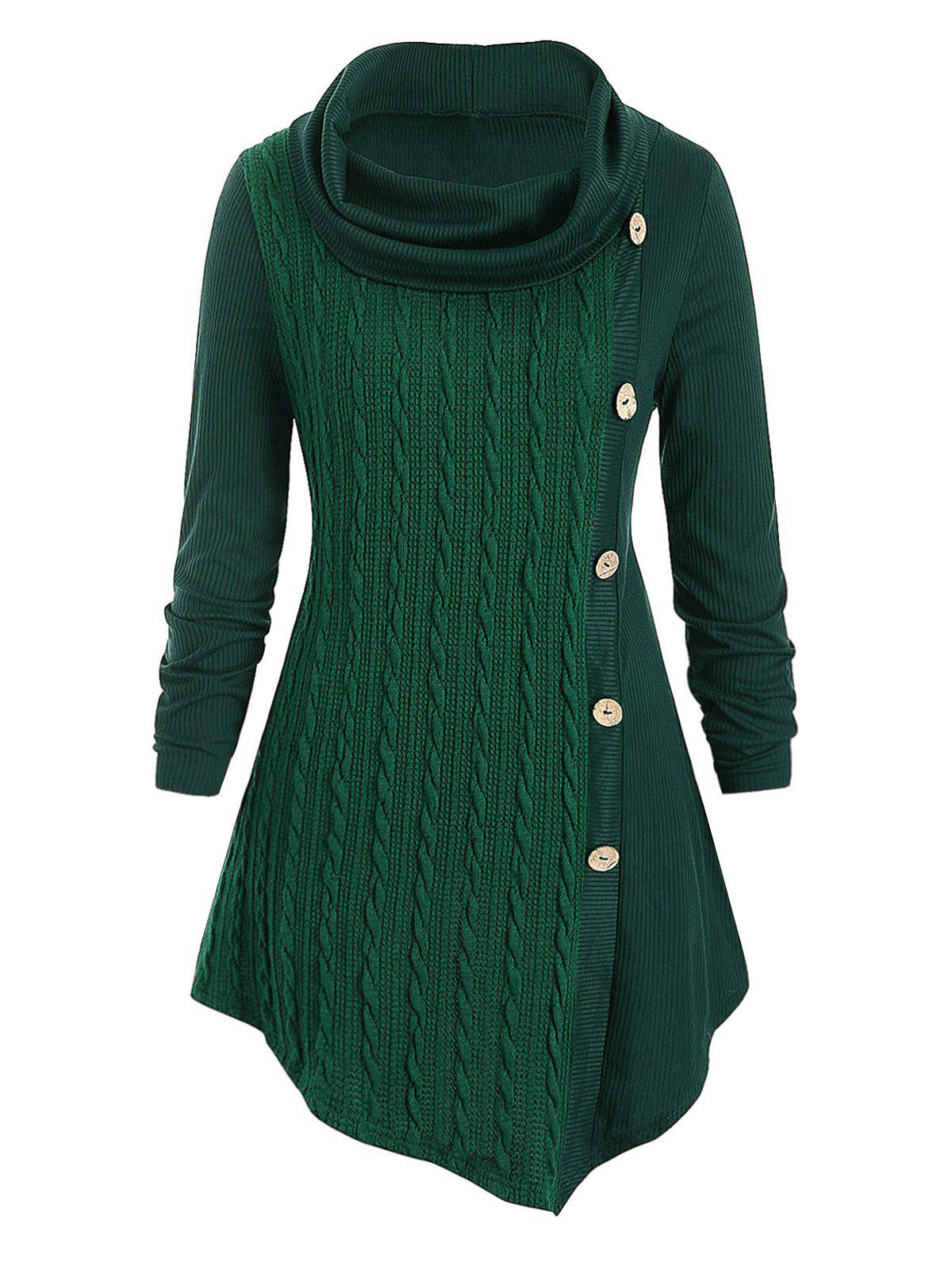Plus Size Cowl Neck Cable Knit Top - DARK GREEN 1X
