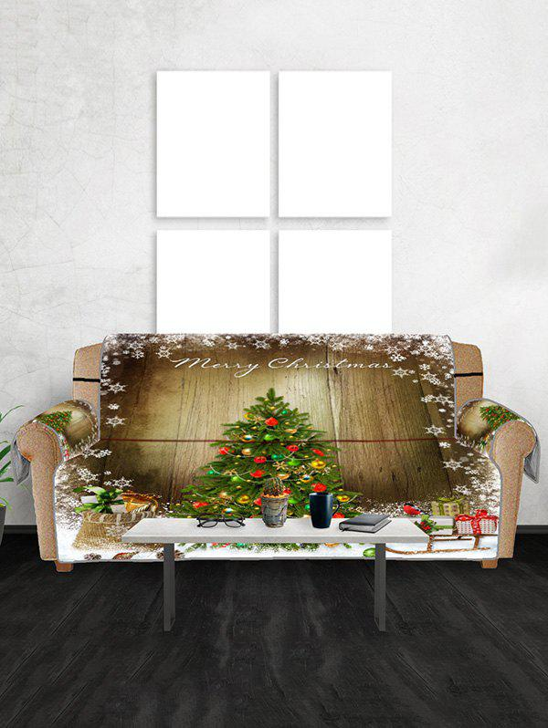 Merry Christmas Tree Couch Cover - FERN GREEN THREE SEATS