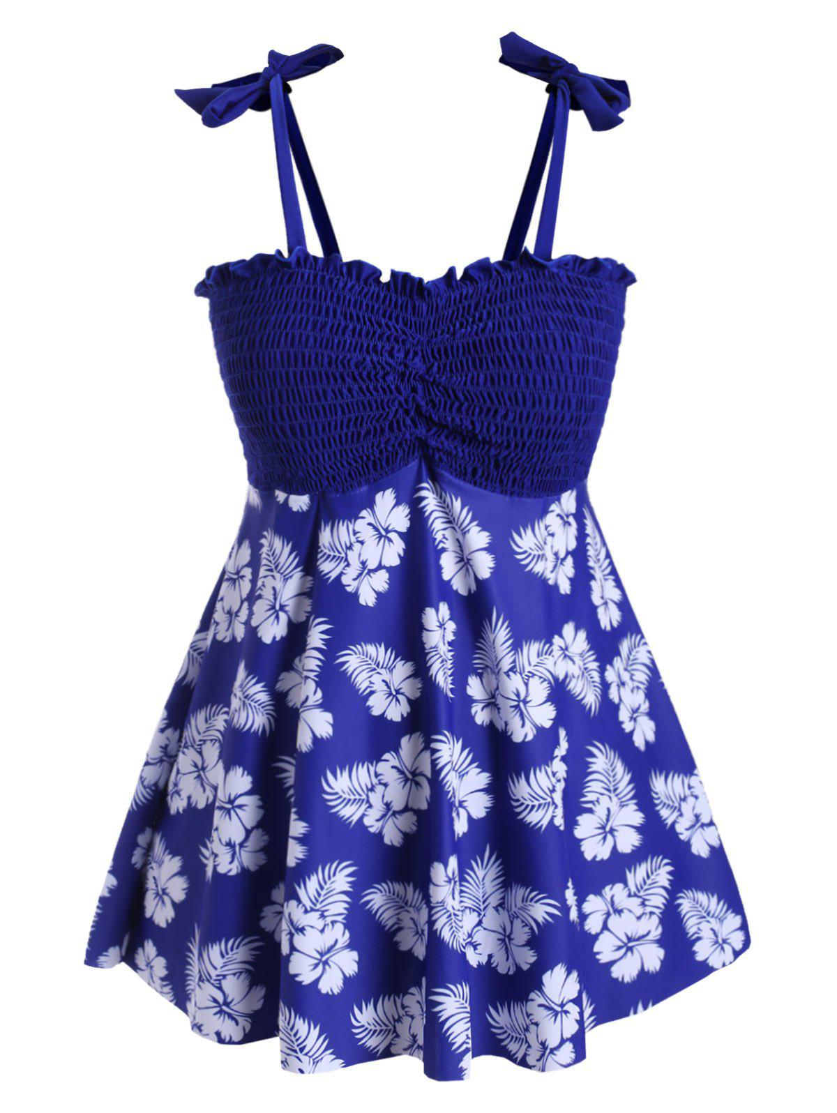 Plus Size Smocked Floral Print Tankini Swimsuit - BLUEBERRY BLUE 2X