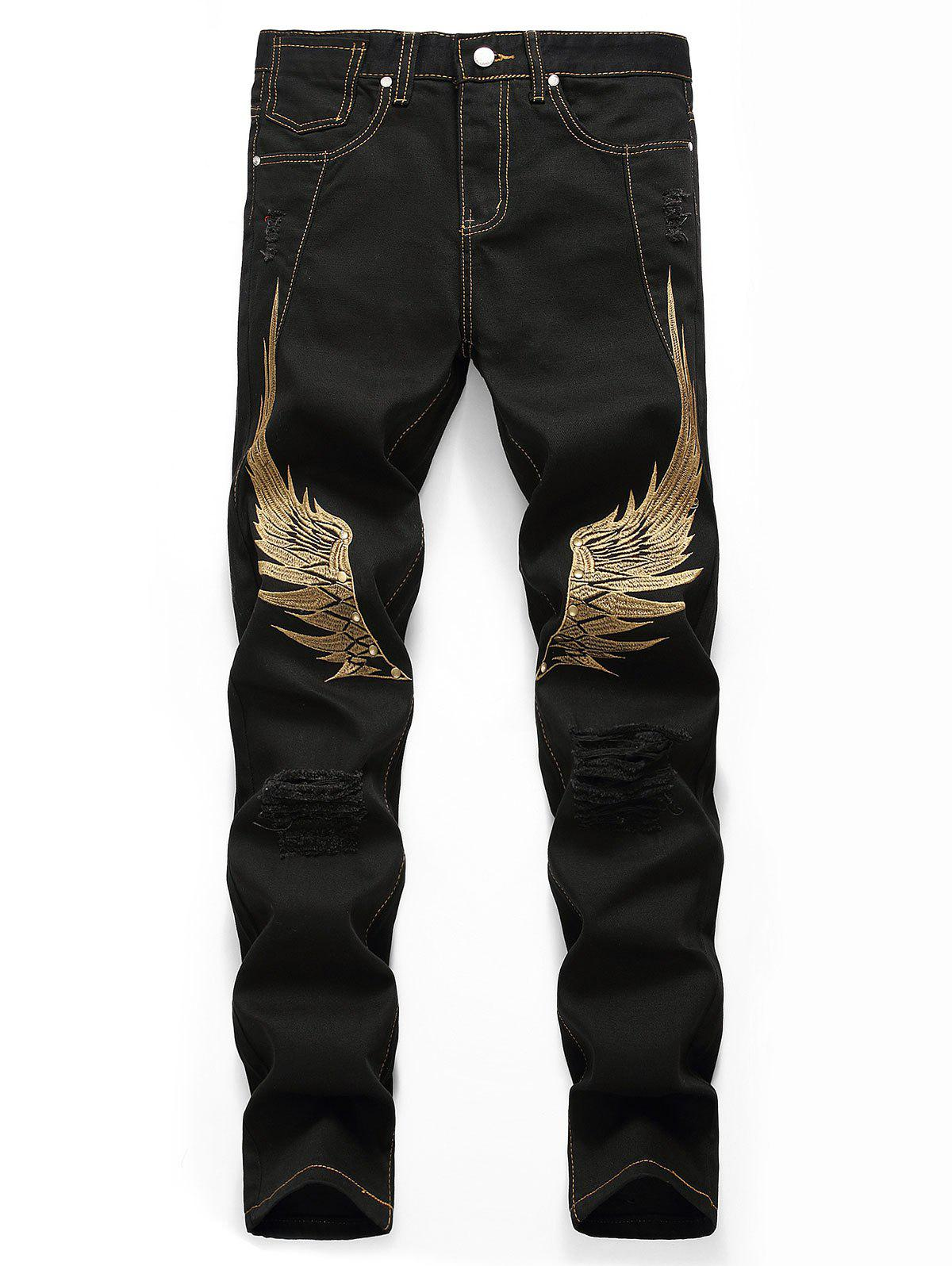 Wing Embroidery Zip Fly Casual Jeans - BLACK 36