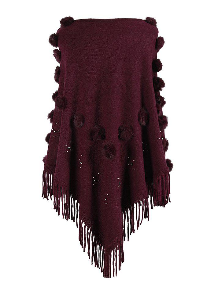 Plus Size Pom Ball Beading Fringed Poncho Sweater - RED WINE ONE SIZE