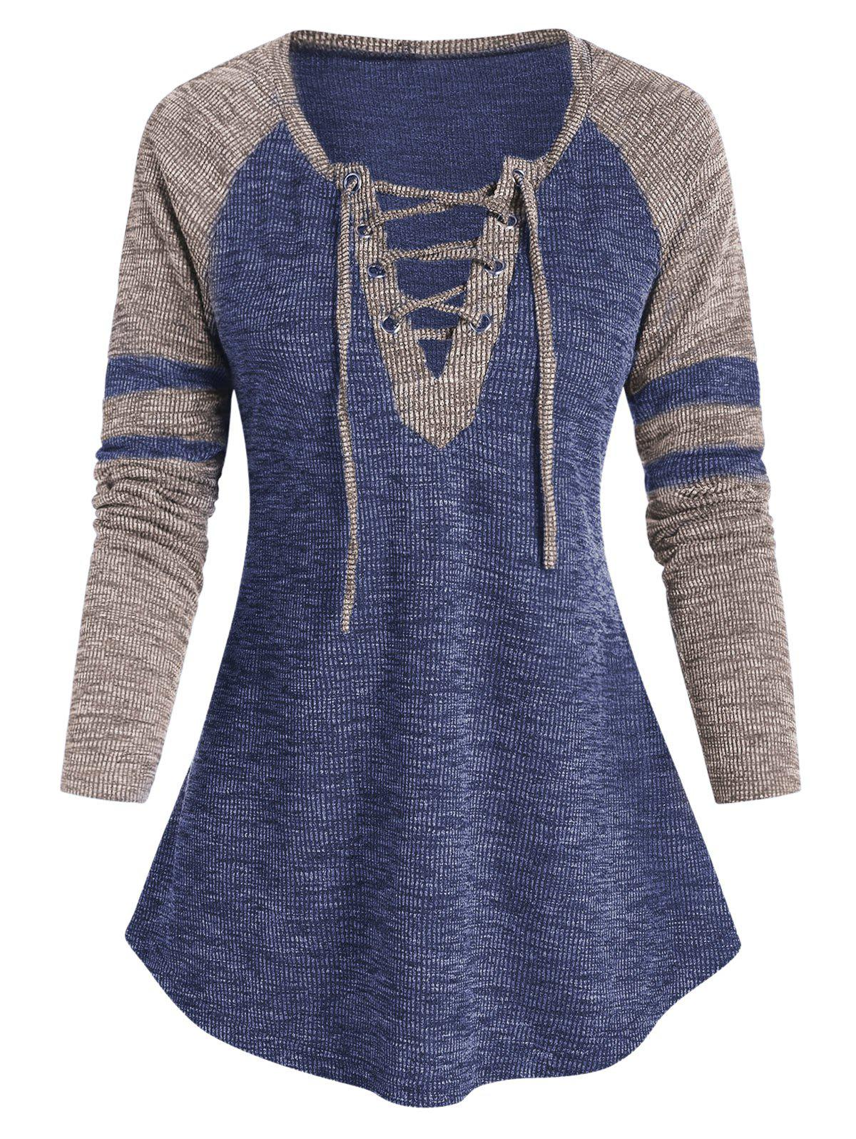 Raglan Sleeve Lace-up Contrast Ribbed T-shirt - DARK SLATE BLUE 3XL