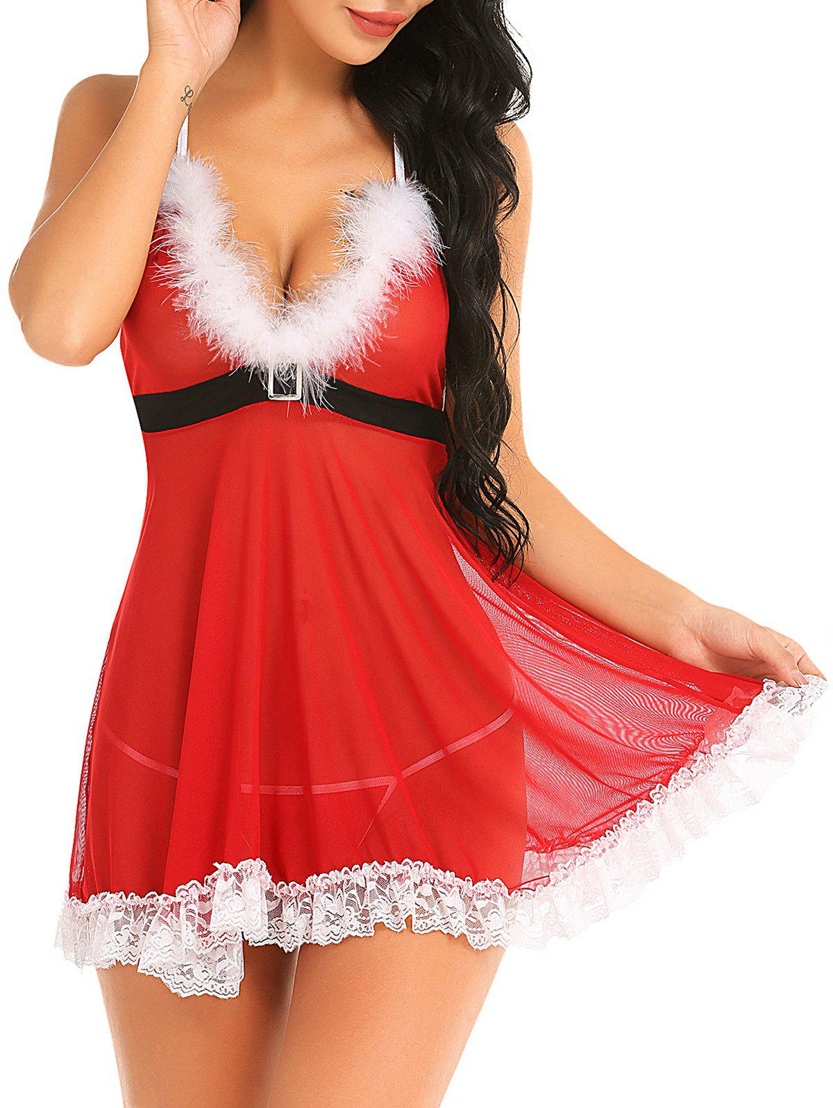 Lace Panel Mesh Fuzzy Babydoll Set - RED XL