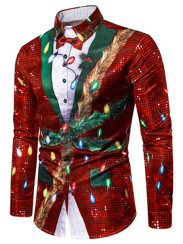 Christmas Faux Sequins Button Up Tuxedo Shirt - RED 3XL