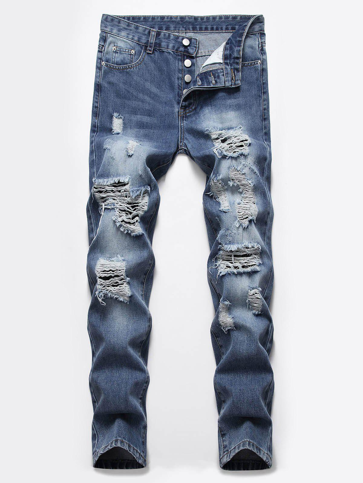 Destroyed Ripped Button Fly Casual Jeans - DENIM DARK BLUE 42