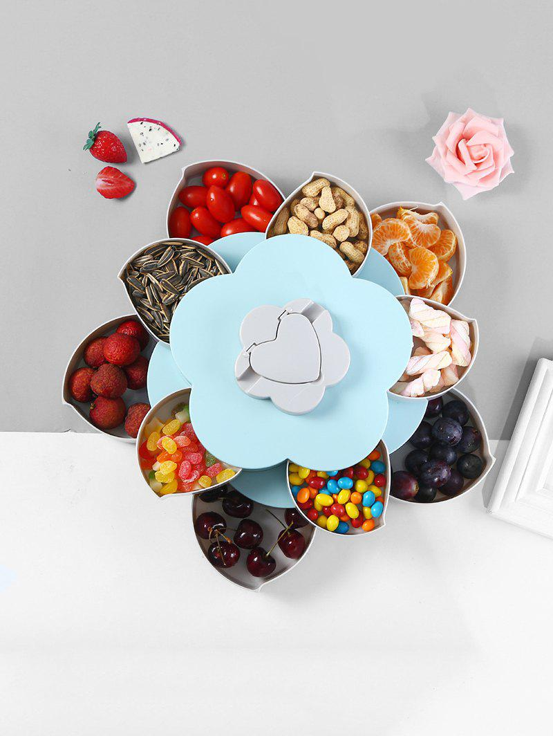 Flower Shape Rotating Snack Containers Candy Storage Box - BLUE DOUBLE LAYER