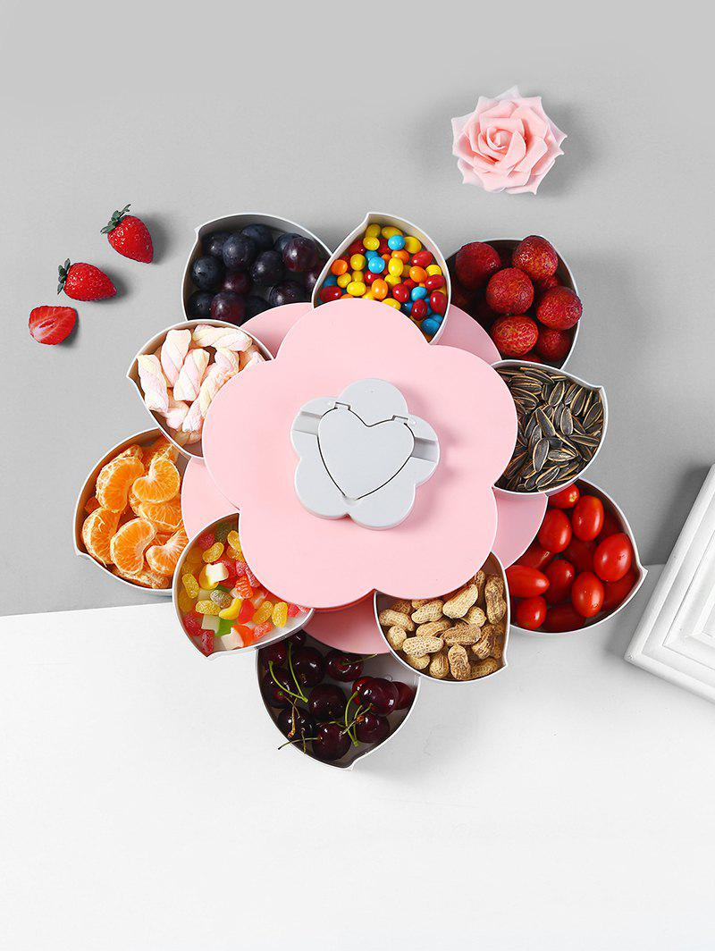 Flower Shape Rotating Snack Containers Candy Storage Box - PINK DOUBLE LAYER