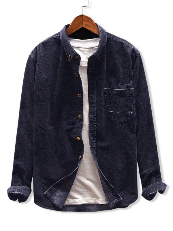 Button Up Pocket Corduroy Shirt - CADETBLUE L