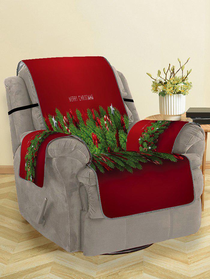 Merry Christmas Candy Cane Couch Cover - RED WINE SINGLE SEAT