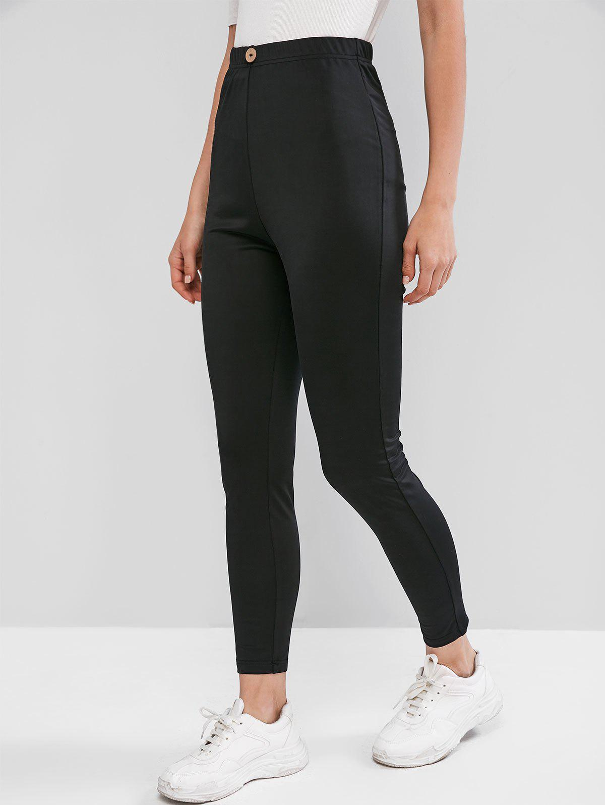 Mock Button Solid Fitted Leggings - BLACK S