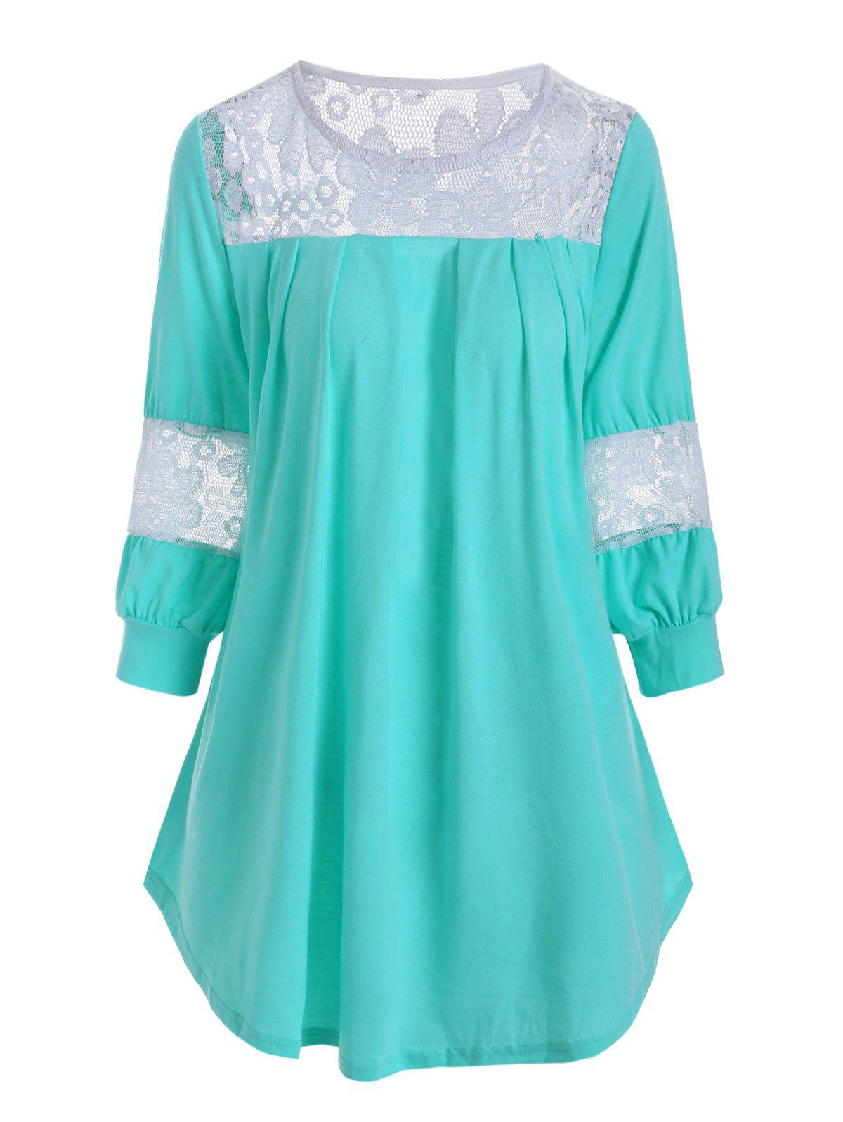Plus Size Lace Insert Curved T Shirt - AQUAMARINE 2X