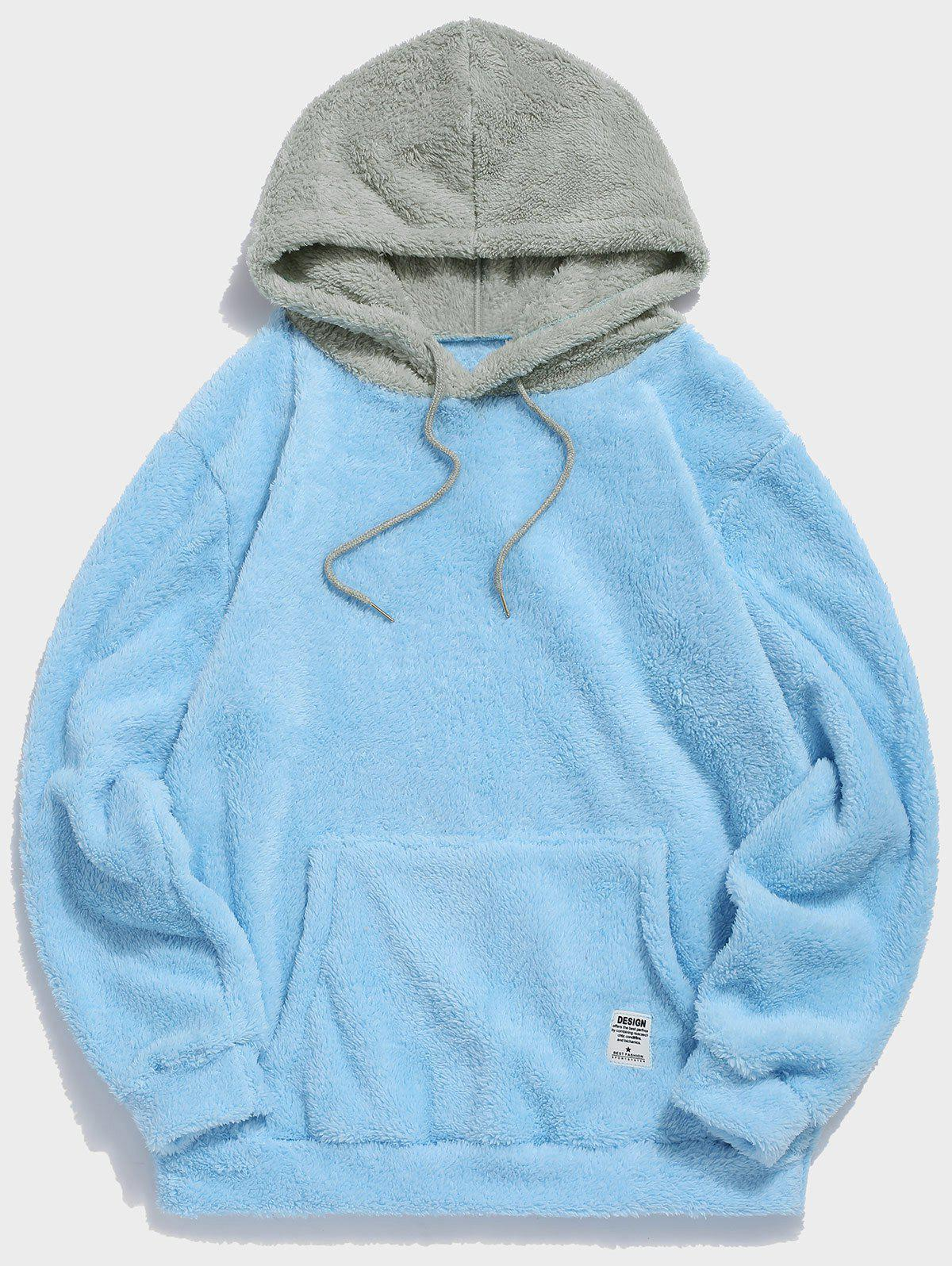 Colorblock Splicing Faux Fur Fluffy Hoodie - LIGHT SKY BLUE S