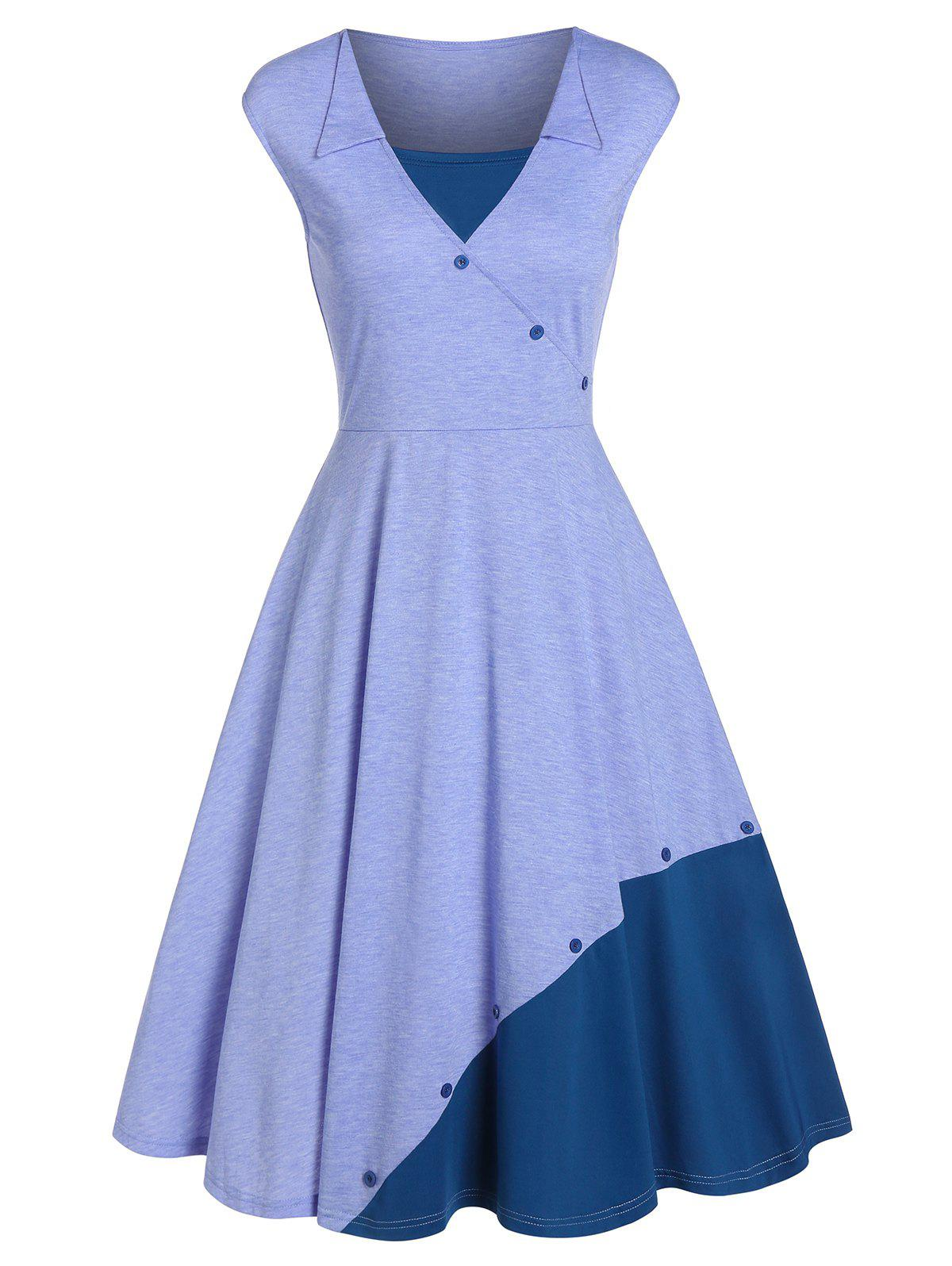 Fit And Flare Midi Two Tone Dress - SKY BLUE M