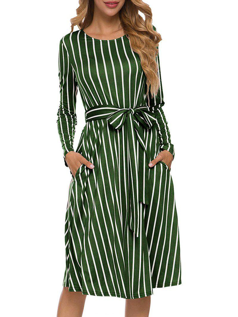 Striped Belted Pocket Midi Dress - GREEN ONION M