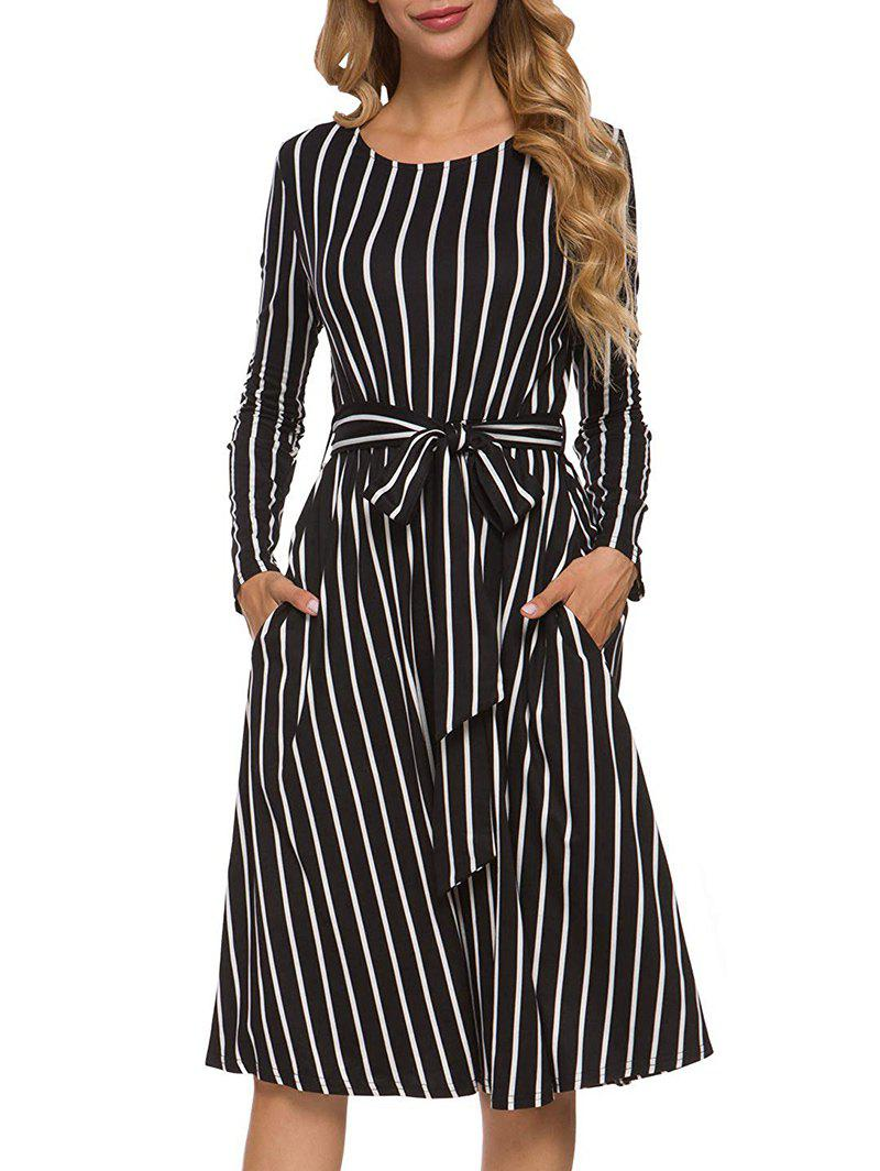 Rayé Belted Pocket Midi Robe - Noir XL