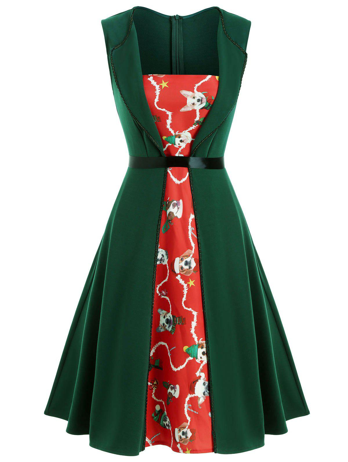 Christmas Dog Print Split Front Sleeveless Dress - DEEP GREEN L