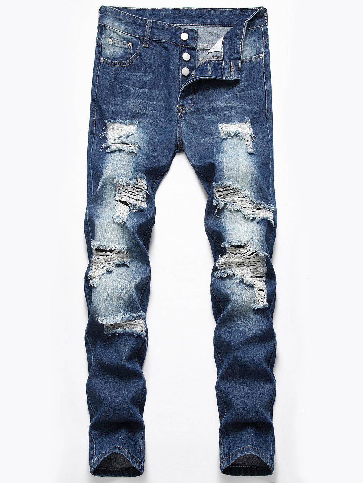 Destroyed Design Button Fly Casual Jeans - DENIM DARK BLUE 34