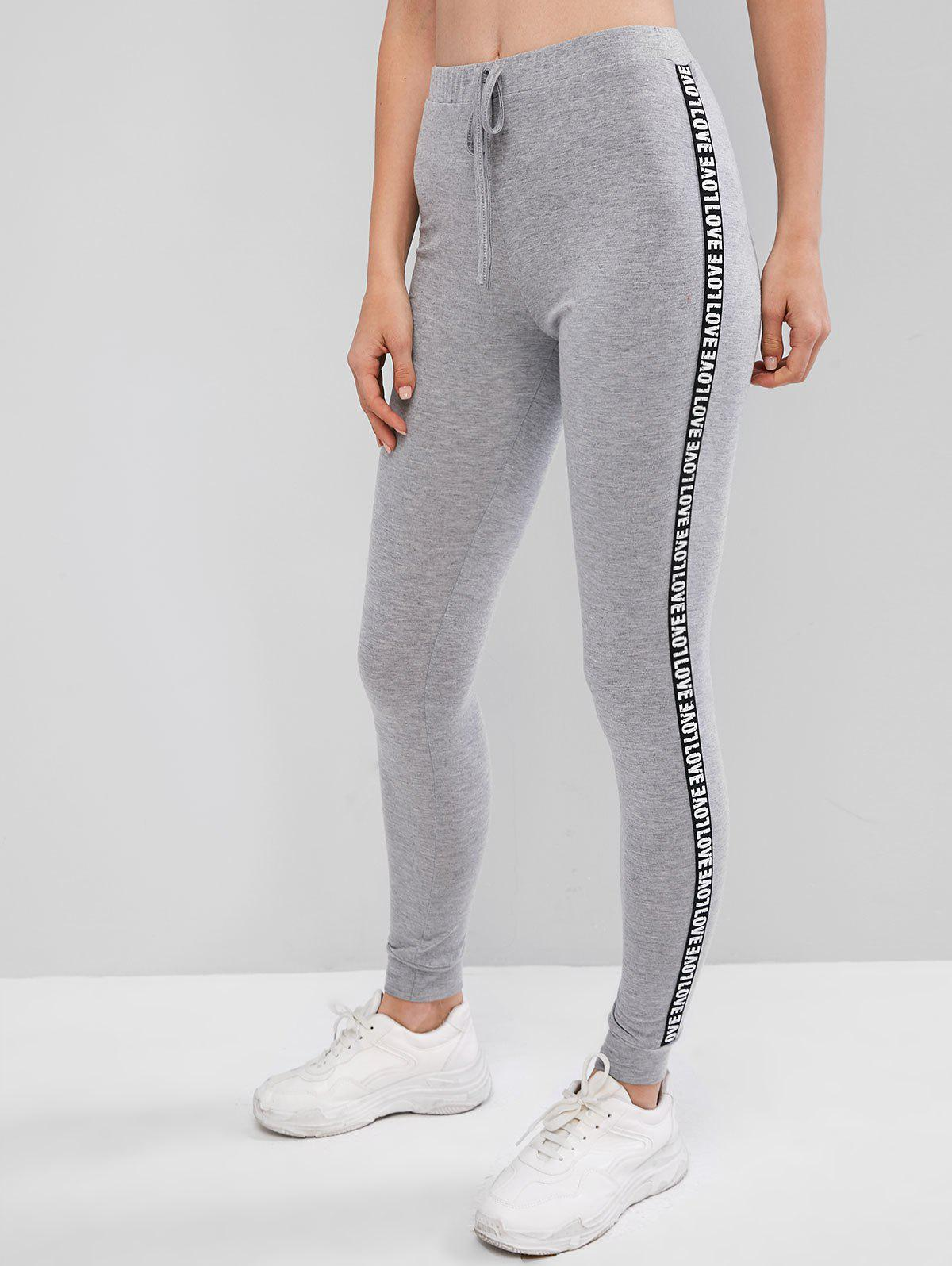 Letter Patched Heathered High Waist Leggings - GRAY CLOUD L
