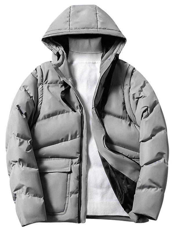 Solid Color Zipper Hooded Puffer Jacket - LIGHT GRAY XS