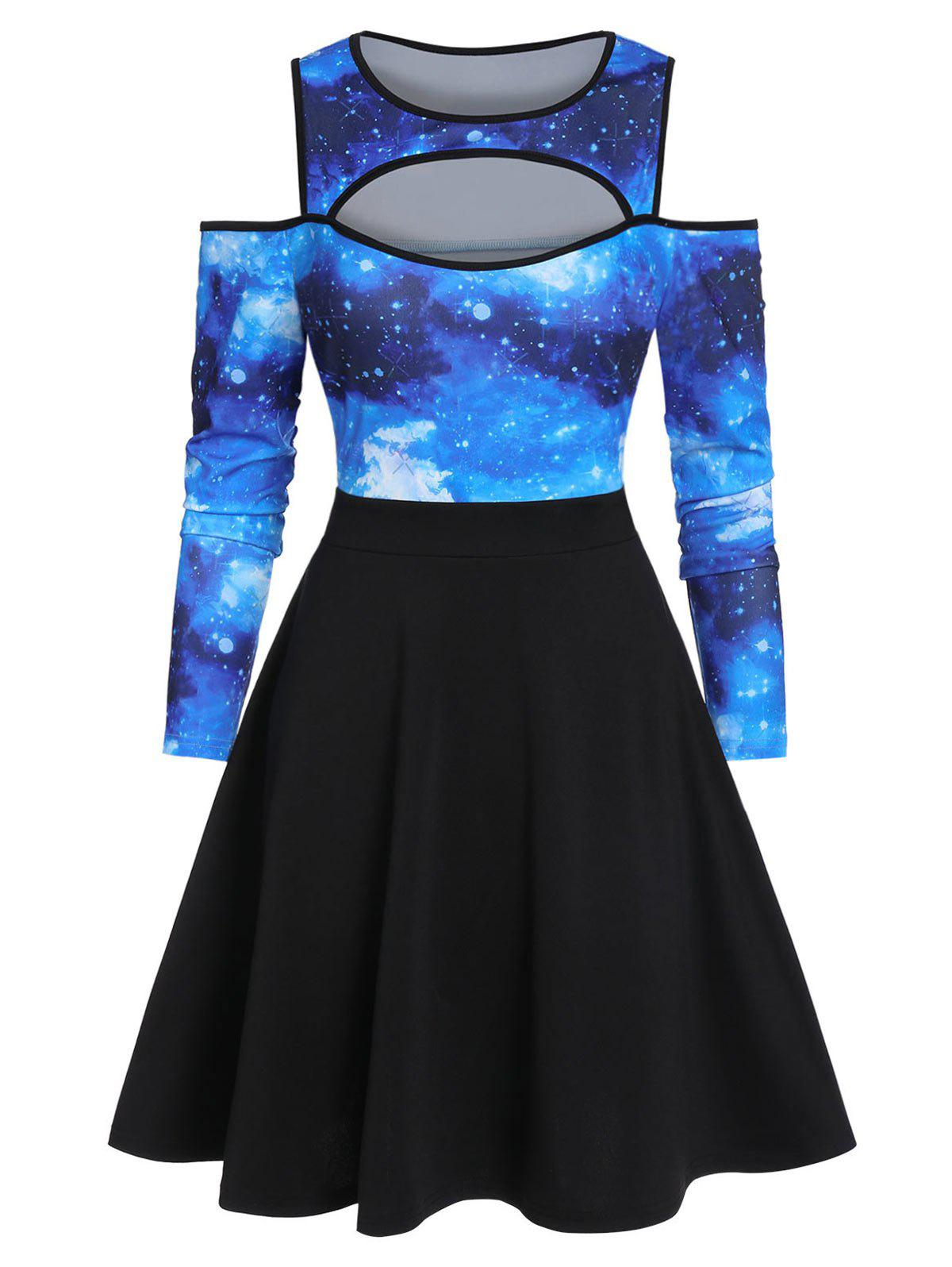 Galaxy Print Cold Shoulder Cut Out Skater Dress - multicolor A XL