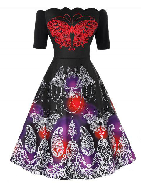 Plus Size Off The Shoulder Scalloped Butterfly Print Dress