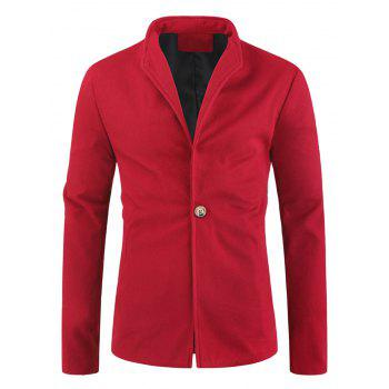 Solid Color Single Button Wool Blend Coat