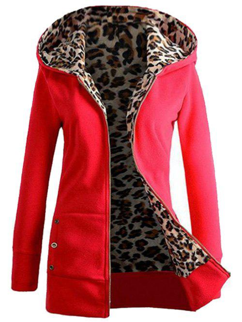 Leopard Print Buttons Zip Up Hoodie - RED L