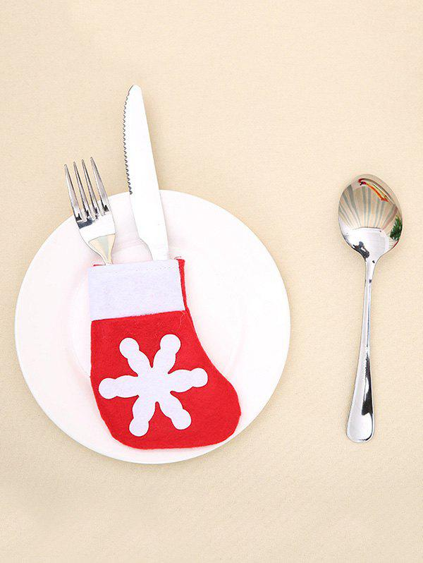 Christmas Snowflake Stockings Knives and Forks Cover Bag - RED