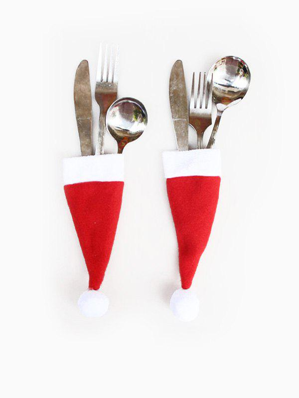 Christmas Decoration Hat Knives and Forks Cover Bag - RED