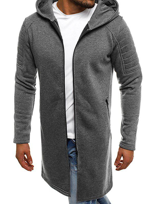 Zip Up Longline Fleece Hoodie - DARK GRAY 3XL