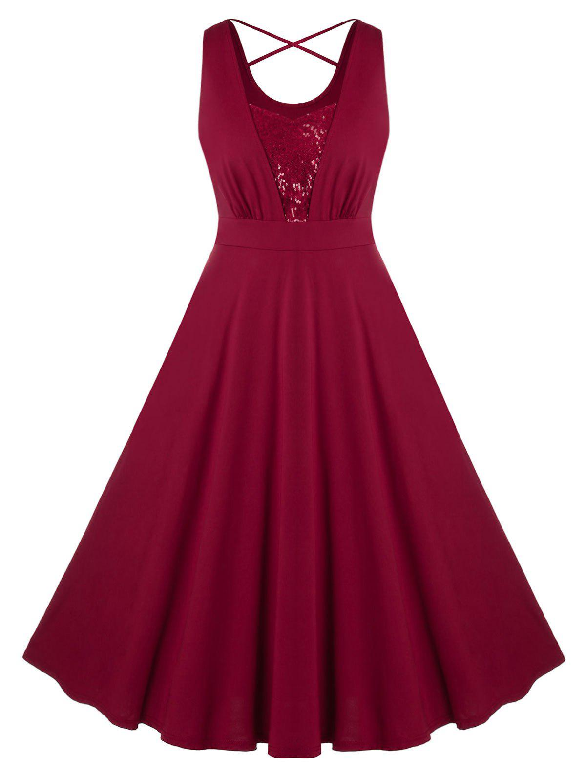 Plus Size Sequins Crisscross Sleeveless Dress - RED WINE 5X