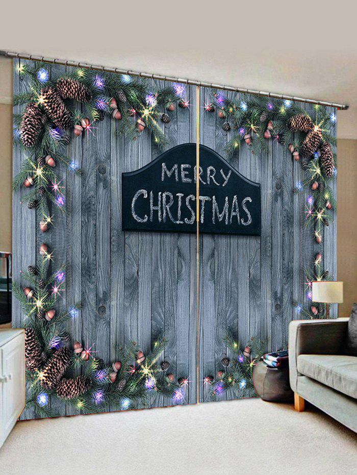 Merry Christmas Wooden Acorn Window Curtains - SLATE GRAY W30 X L65 INCH X 2PCS