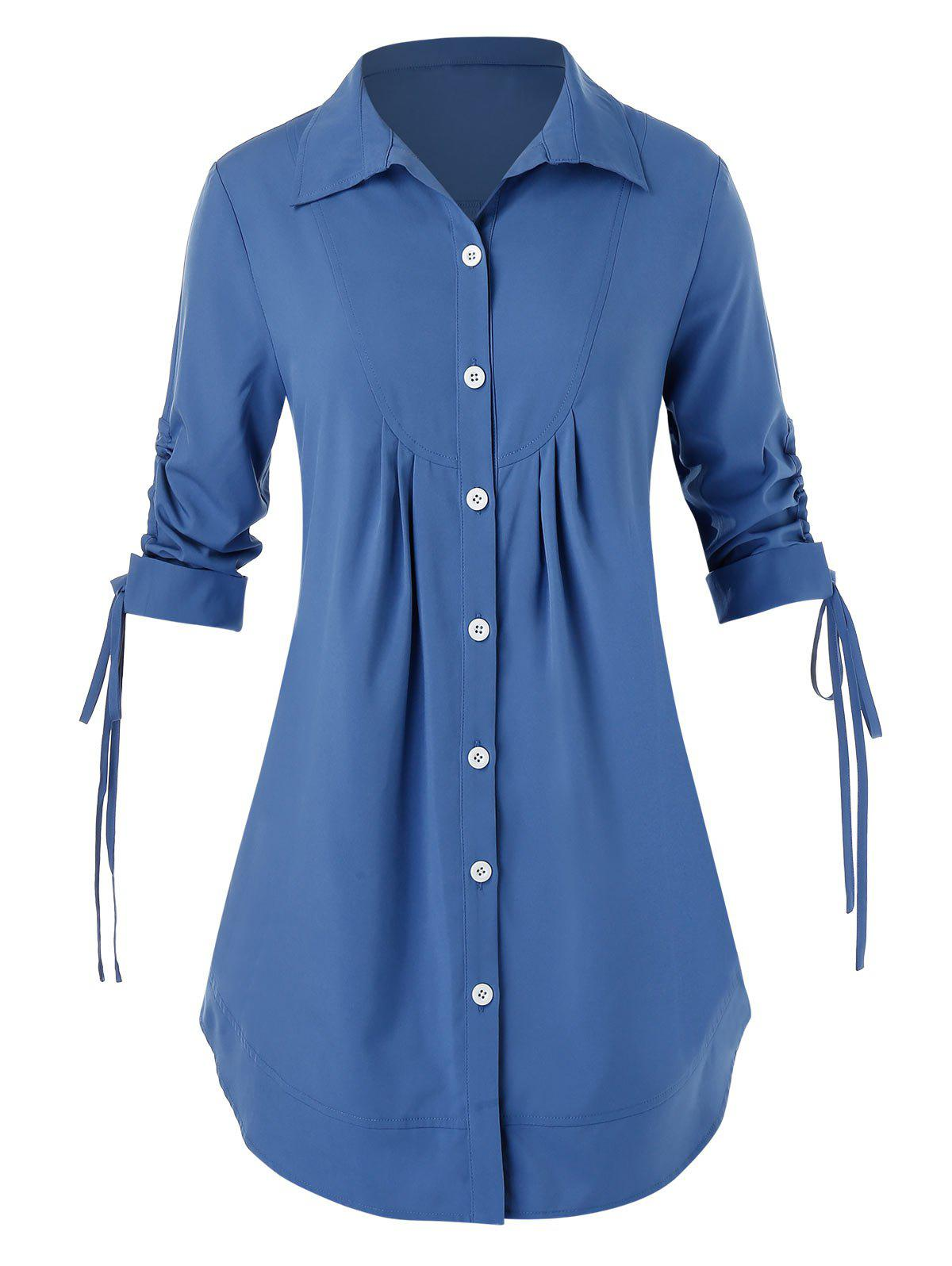 Plus Size Button Up Lace-Up Shirt - SILK BLUE 4X