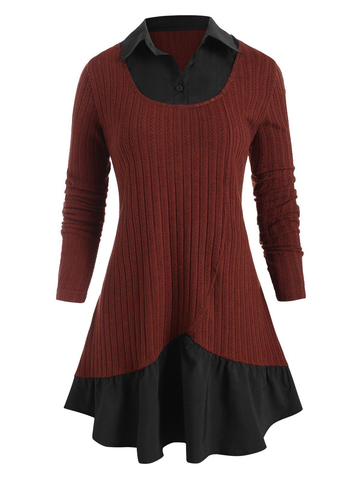 Plus Size Two Tone Faux Twinset Longline Knitwear - RED WINE L