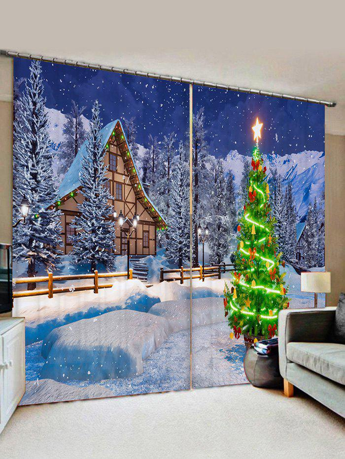 Christmas Tree Snow Window Curtains - BLUEBERRY BLUE W33.5 X L79 INCH X 2PCS