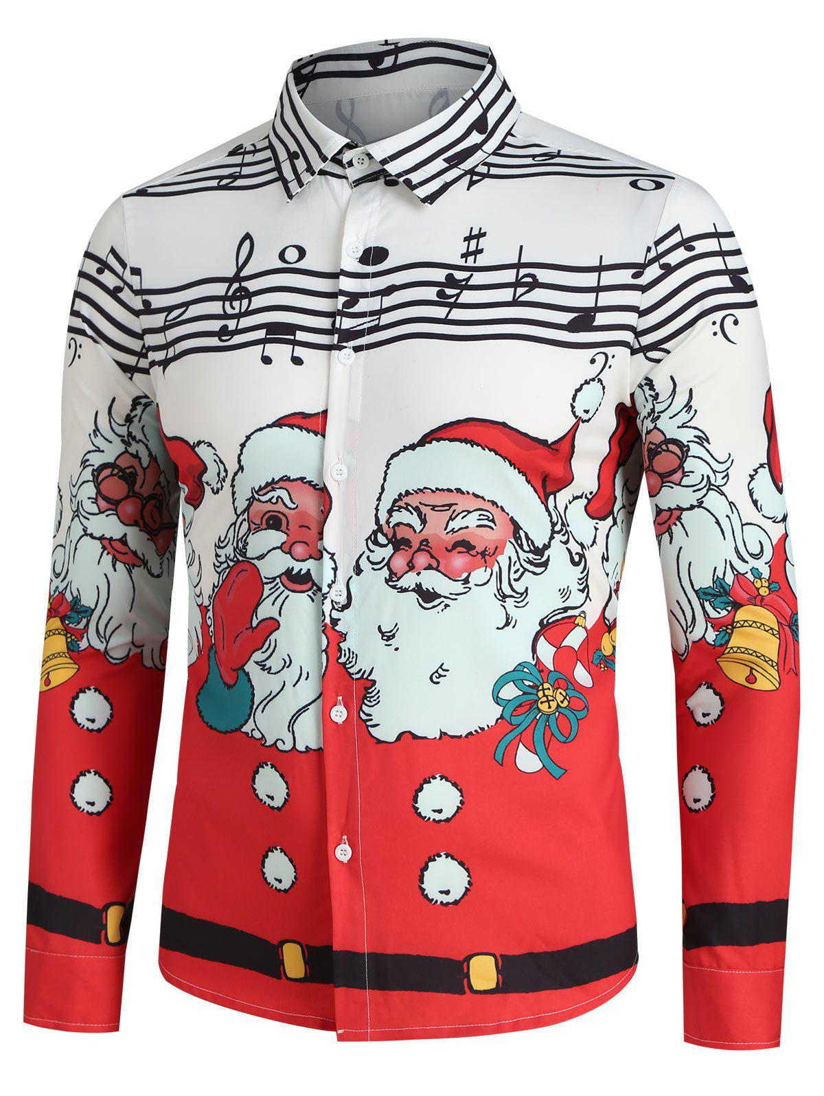 Christmas Santa Claus and Music Notes Print Button Up Shirt - WHITE S