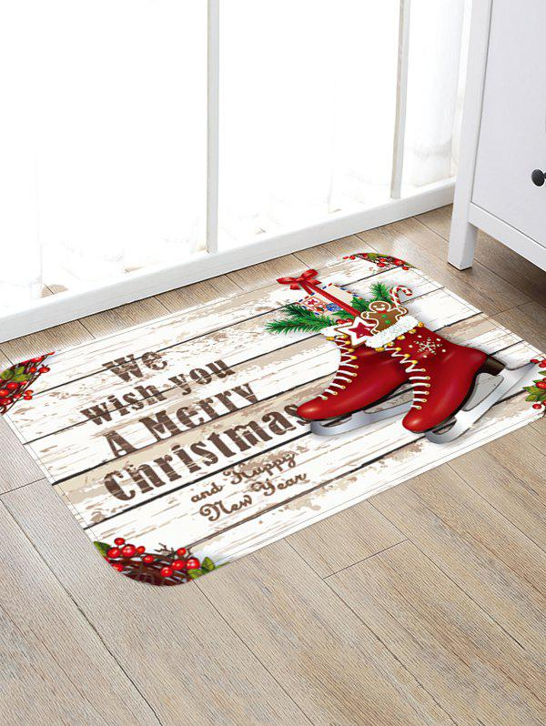 Christmas Skates Wood Grain Letter Print Area Rug - WARM WHITE W24 X L35.5 INCH