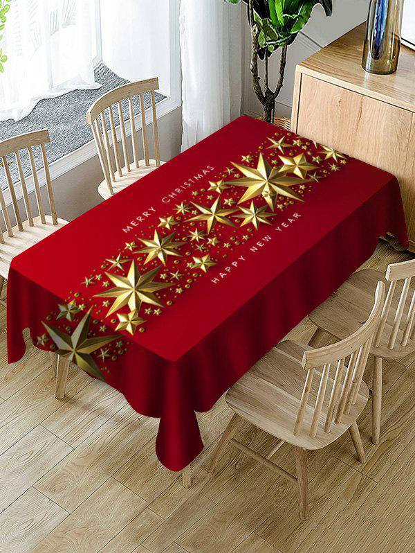 Merry Christmas New Year Table Cloth - RED WINE 55 X 55 INCH