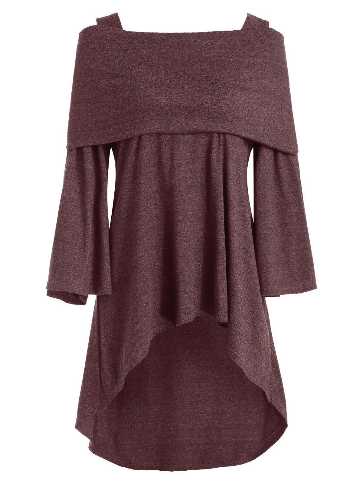 Plus Size Foldover Bell Sleeve High Low T Shirt - RED WINE 3X