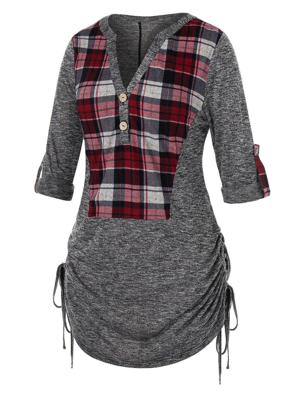 Plus Size Plaid Cinched Roll Up Sleeve Marled Tee - LIGHT GRAY 3X