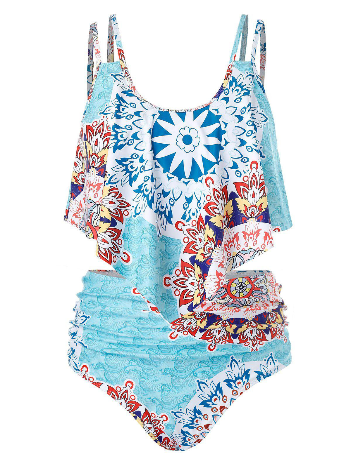 Plus Size Printed Cami Tankini Swimsuit - CORAL BLUE 1X