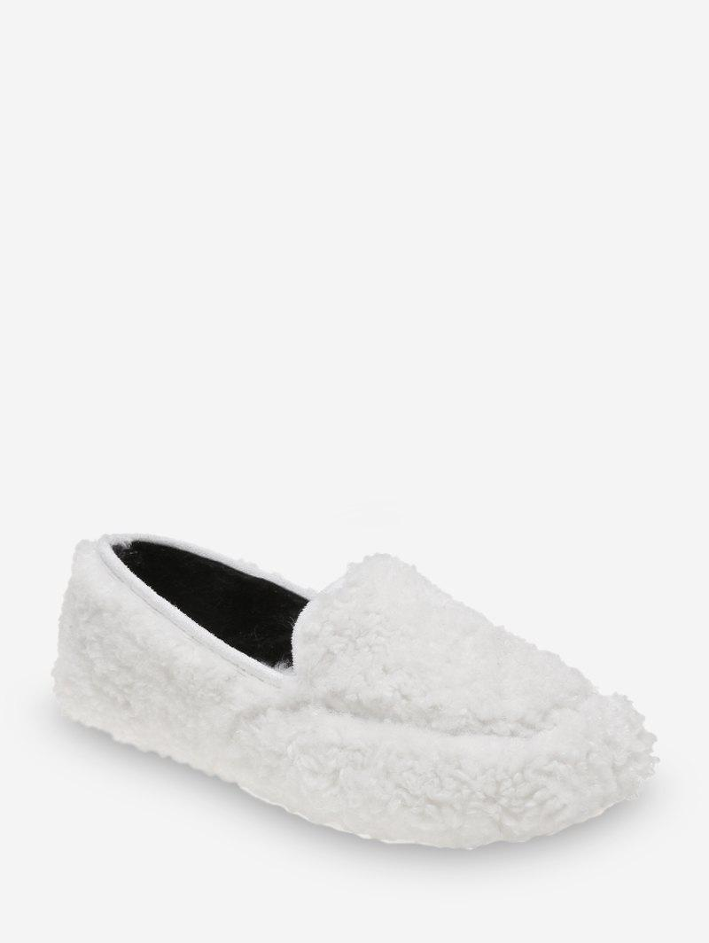 Casual Solid Color Fuzzy Slip On Shoes - WHITE EU 35