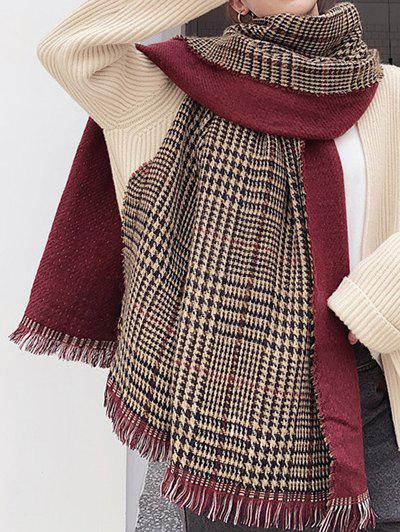 Winter Plaid Houndstooth Fringed Long Scarf - RED WINE
