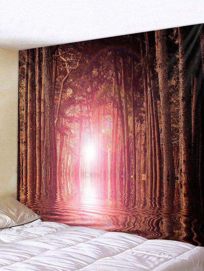 Sunlight Forest River Print Tapestry Wall Hanging Art Decoration - multicolor W91 X L71 INCH